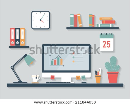 desktop  flat design  office