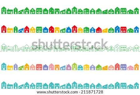 cityscape with colorful houses