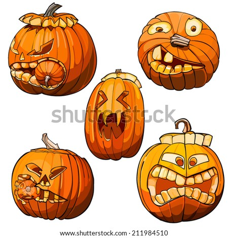 funny toothy pumpkins for