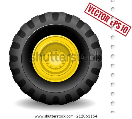 tractor wheel isolated on white