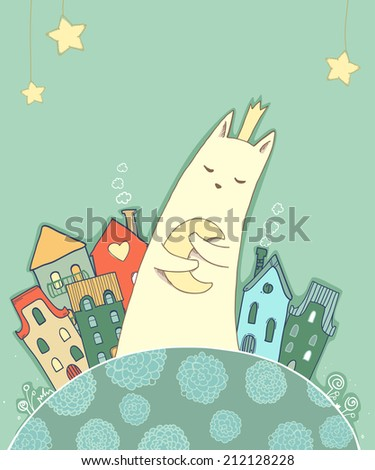 vector drawing white cat with