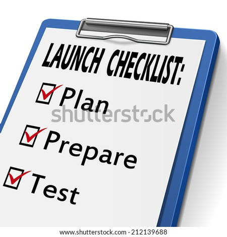launch checklist clipboard with