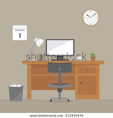 computer desk  workplace vector