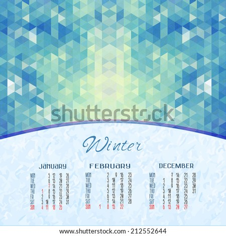 winter vector calendar for