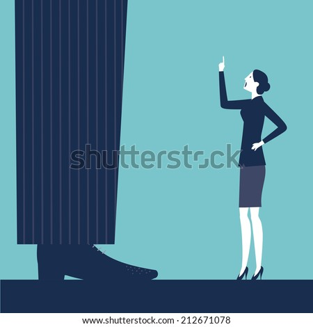 vector woman scolding her boss