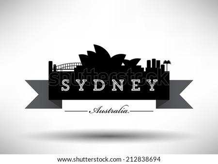 sydney skyline with typography