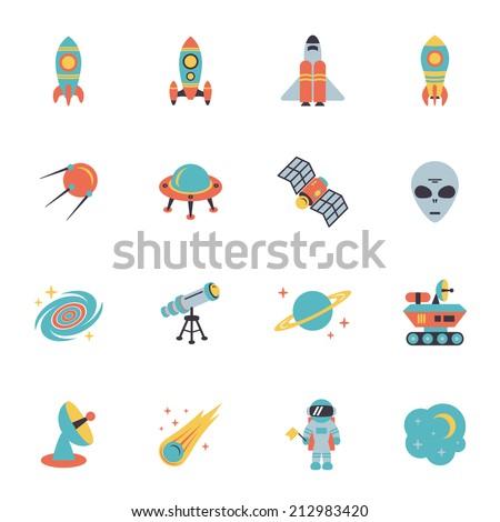 space icons set of rocket ufo