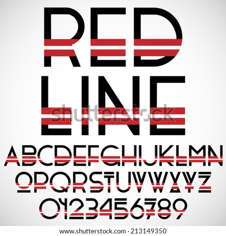 black and red font with numbers