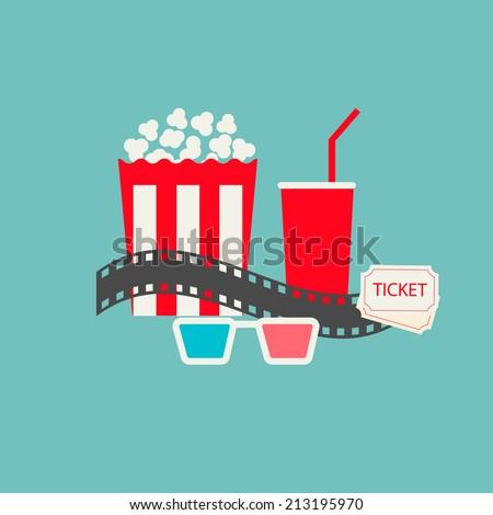 popcorn  soda with straw