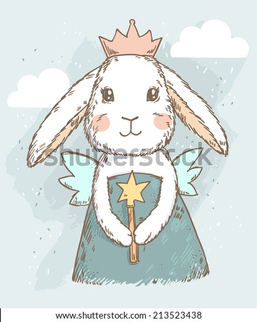 cute fairy princess rabbit with