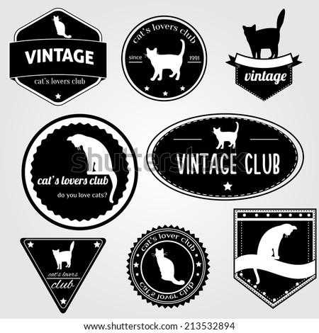 vintage vector cat's labels