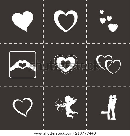 vector black love icons set on