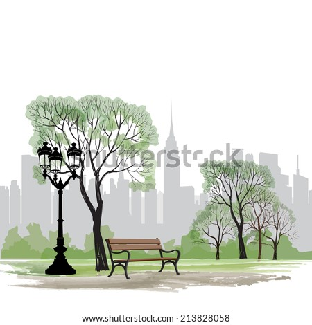 bench and streetlight in park