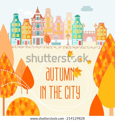 autumn in old fashioned town