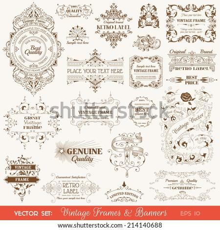 vector set  vintage frames and