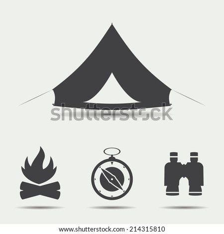 set of simple black camping
