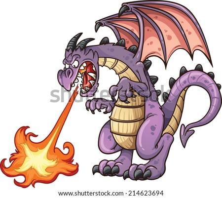 cartoon dragon spitting fire