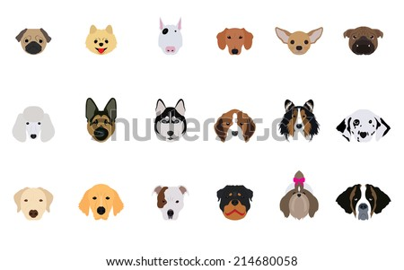 title  set of head dogs vectors