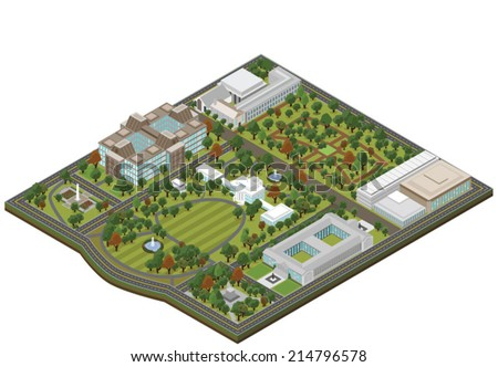 isometric white house   vector