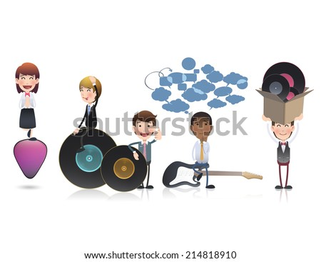 business people with vinyl over