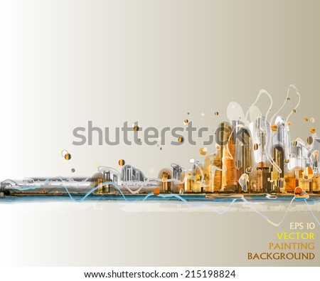 colorful silhouette of city