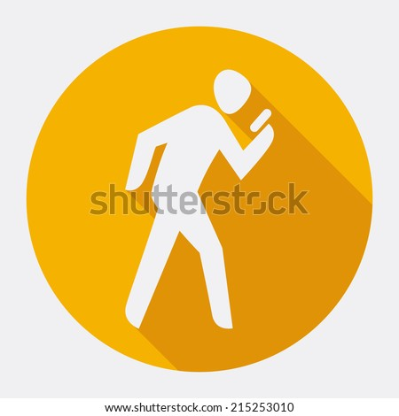 vector flat round icon with man