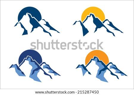 stylized mountain peaks in the