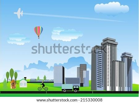 city and countryside landscape