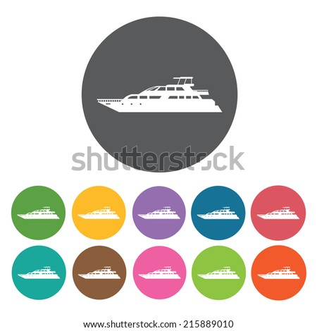private boat icons set round