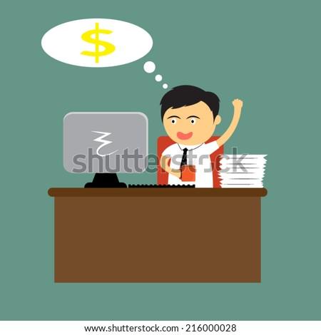 cartoon businessman happy and
