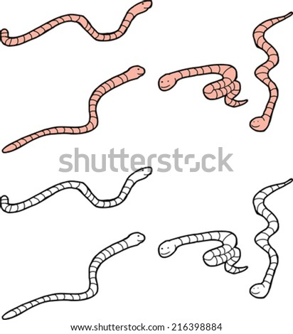 group of cartoon worms in color