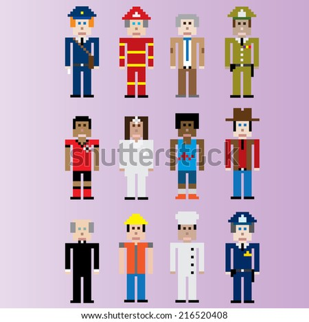 pixel people occupations set