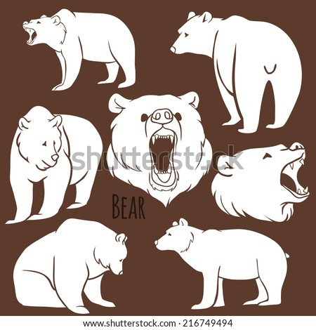 set of wild bear silhouettes on