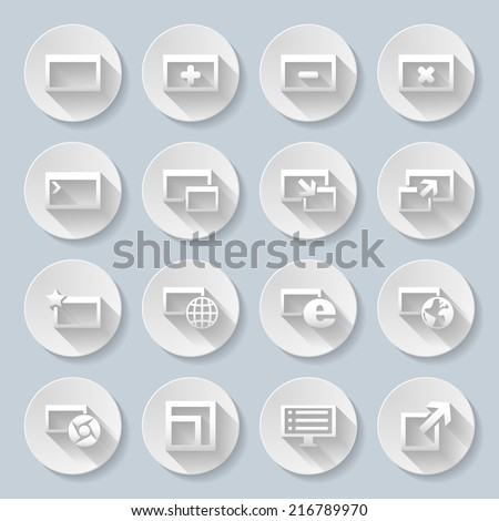 set of round icons with web