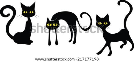 black cats   halloween   vector