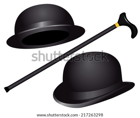 two hats and cane on white