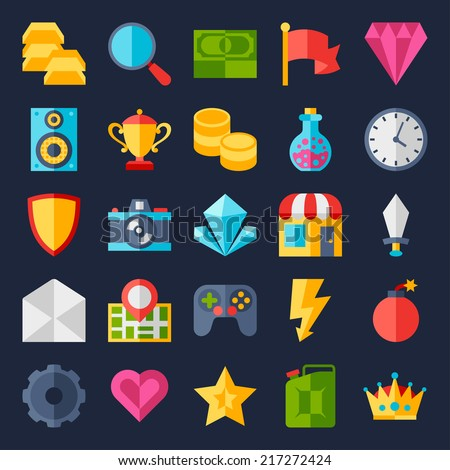 set of game icons in flat