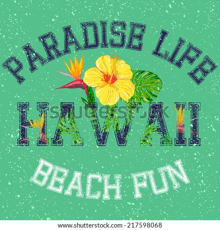 paradise life  vector floral