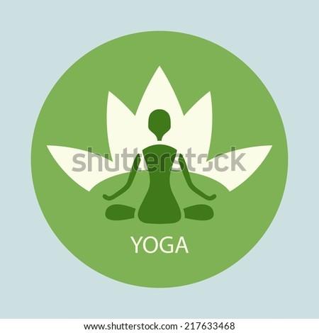 emblem yoga pose against a