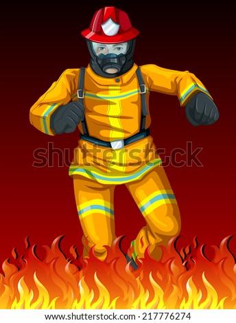 illustration of a fireman