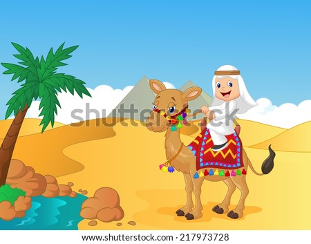 arab boy riding camel