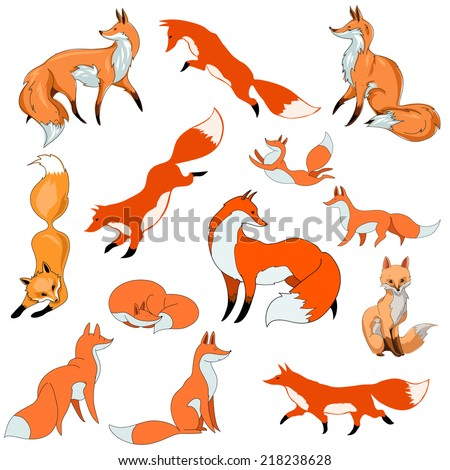 stylized red foxes in different