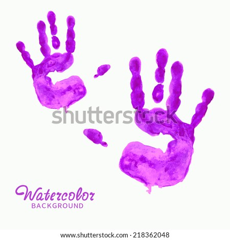 watercolor purple hand prints