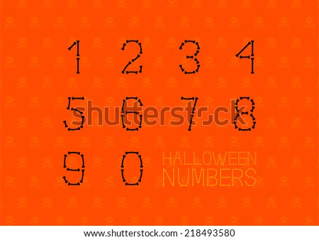 halloween font  numbers made of
