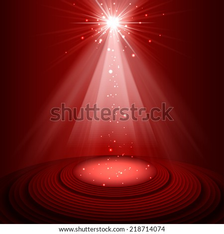 spotlight red on stage vector