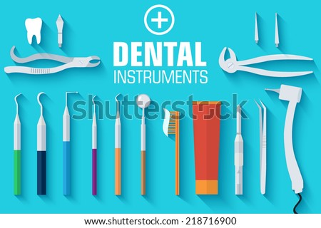 flat dental instruments set