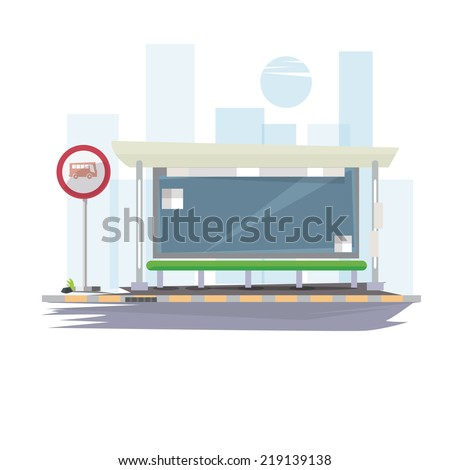 bus stop with city background