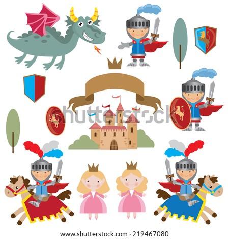 knights  princess and dragon