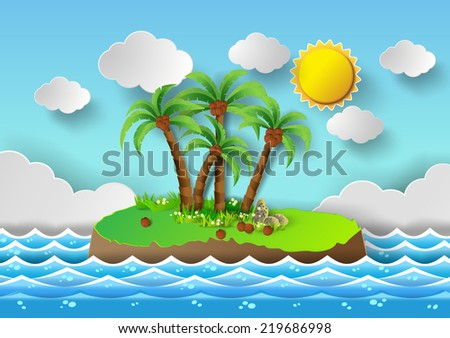 tropical palm on island with
