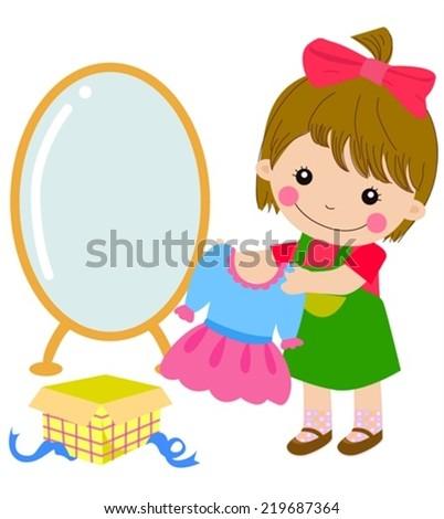 cartoon little girl and her